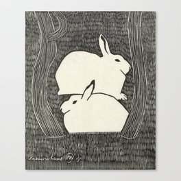 Vintage Snow Hare Block Print Canvas Print