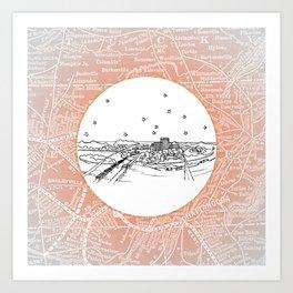 Chattanooga, Tennessee City Skyline Illustration Drawing Art Print