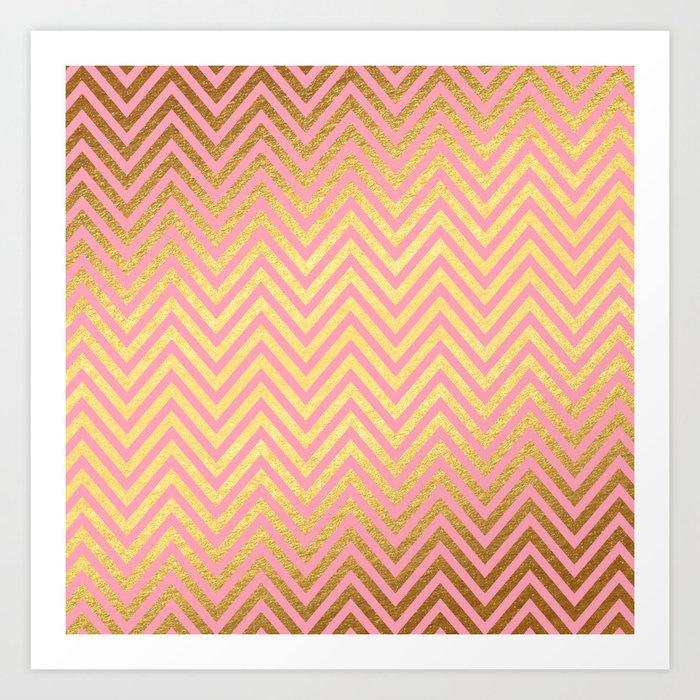 Chevron Herringbone pattern rosegold- gold metal glitter on pink watercolor Art Print