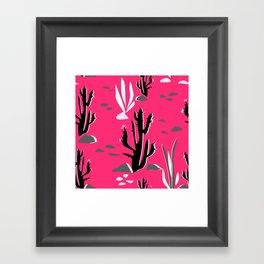 Cacti on a crimson background Framed Art Print