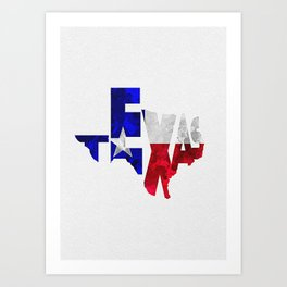 Texas Typographic Flag Map Art Art Print