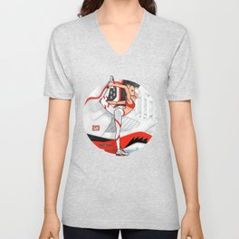 "Yoga girl Cool Noodle and ""Fire Red"" Unisex V-Neck"