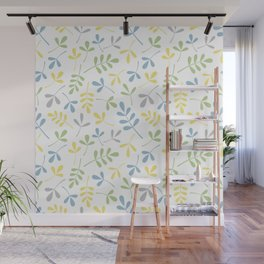 Assorted Leaf Silhouettes Blue Green Grey Yellow White Ptn Wall Mural