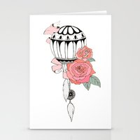 hot air balloon Stationery Cards featuring Hot Air Balloon Ride  by holmeg_art