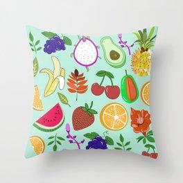 Cute Fruit Pattern Bright Happy Kawaii Throw Pillow
