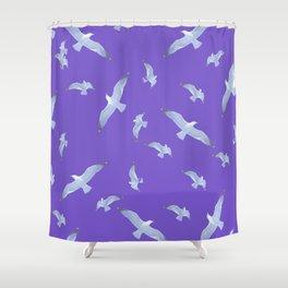 purple seagull day flight Shower Curtain