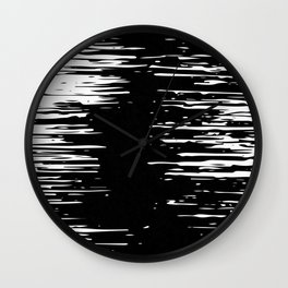 Splash White on Black Wall Clock