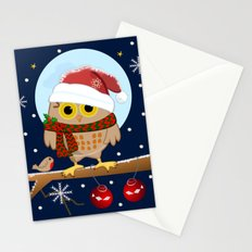 Owl's Christmas in a snowy world Stationery Cards