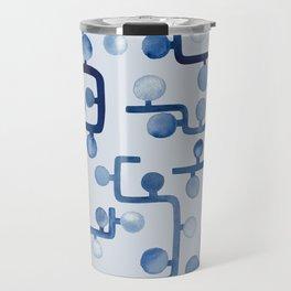 Blue Watercolour Zig Zag Travel Mug