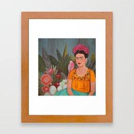 Frida a la casa azul Framed Art Print