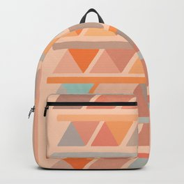 Muted Earth Tones Abstract Geometric Pattern Backpack