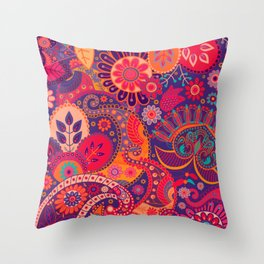 Floral Indian Seamless Pattern Throw Pillow