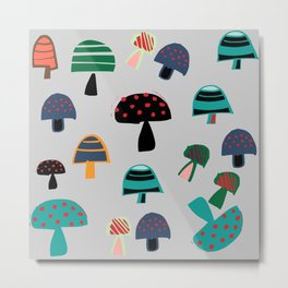 Cute Mushroom gray Metal Print