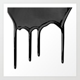 Black paint drip Art Print