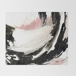 Crash: an abstract mixed media piece in black white and pink Throw Blanket