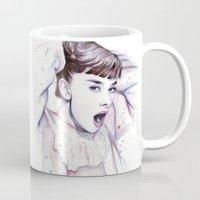 hepburn Mugs featuring Audrey Hepburn Watercolor by Olechka