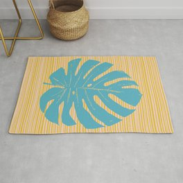Monstera in Turquoise and Gold Rug