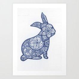 Rabbit Zentangle Art Print