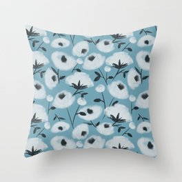 Cotton Flowers on Blue Pattern Throw Pillow