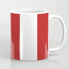 Wide Vertical Stripes - White and Firebrick Red Coffee Mug