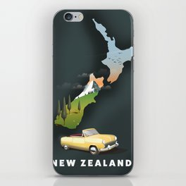 New Zealand travel poster iPhone Skin