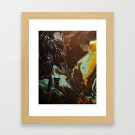 Fluid Art Acrylic Painting, Pour 3 - Black, Orange & Turquoise Blended Color Framed Art Print