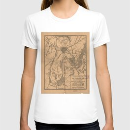 Vintage Map of The Gettysburg Battlefield (1863) 4 T-shirt