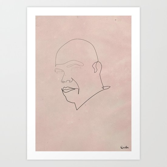 One line Mace Windu Art Print