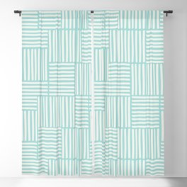 Geometric hand drawn stripes and lines pattern in light blue color Blackout Curtain