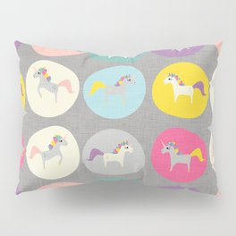 Cute Unicorn polka dots grey pastel colors and linen texture #homedecor #apparel #stationary #kids Pillow Sham