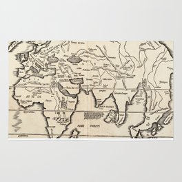 Vintage Map of The World (1522) Rug