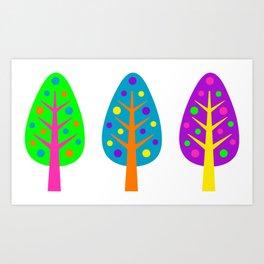 CHRISTMAS TREES_COLORFUL Art Print