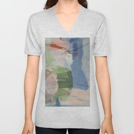 From Memory 1 - abstract painting blue, pink, orange, green, aegean teal Unisex V-Neck
