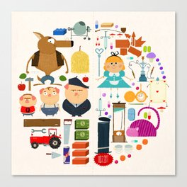 Alice in wonderland + Three Little Pigs aka ALIPIGS Canvas Print