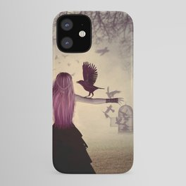 Dark foggy scene with witch woman with crows iPhone Case