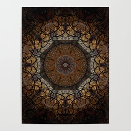 Rich Brown and Gold Textured Mandala Art Poster