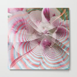 Flower with a magical striped texture Metal Print