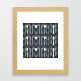 Checkered Silverware Pattern Framed Art Print