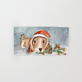 Christmas Puppy Look Hand & Bath Towel