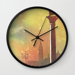 Lion of San Marco statue in Piazza di San Marco at dawn- Venice, Italy Wall Clock