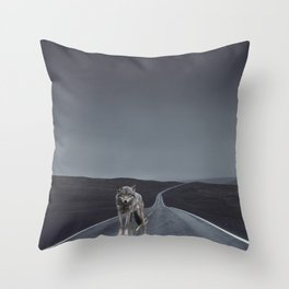 Road Wolf Throw Pillow