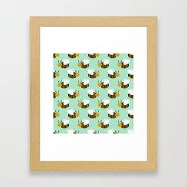 Bee pattern print mint honey bees nature inspired cute nursery kids gender neutral pattern Framed Art Print