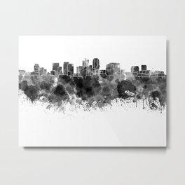 Phoenix skyline in black watercolor Metal Print