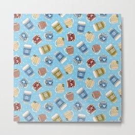 Cozy Mugs - Bg Blue Wood Metal Print