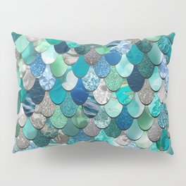 Mermaid Pattern, Sea,Teal, Mint, Aqua, Blue Pillow Sham