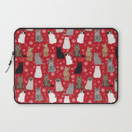 Cat red and white snowflakes festive winter gifts for cat person cat lady cat man christmas Laptop Sleeve