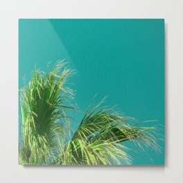 Palms on Turquoise Metal Print