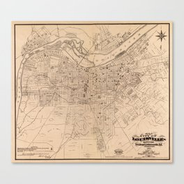 Map Of Louisville 1873 Canvas Print