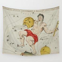 Sidney Halls (1831) astronomical chart  of the zodiacs Aquaris Piscis Australis and Ballon Aerostati Wall Tapestry