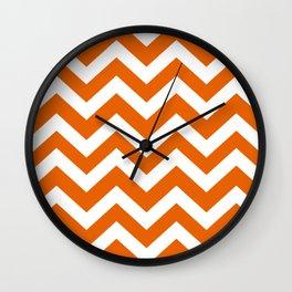 Spanish orange - orange color - Zigzag Chevron Pattern Wall Clock